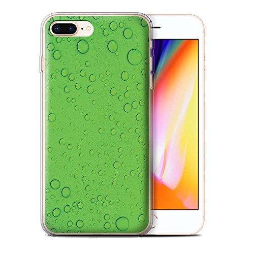 Stuff4 Gel TPU Hülle / Case für Apple iPhone 8 Plus / Lila Muster / Wassertropfen Kollektion Grün