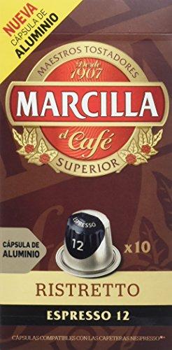 Marcilla Café Espresso Ristretto - Intensidad 12 - 10 Cápsulas de al