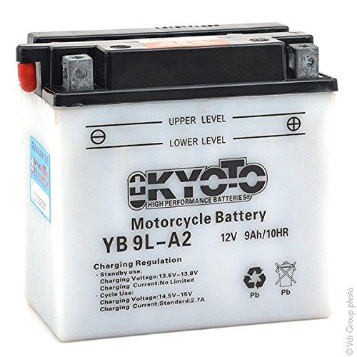 KYOTO Batterie Moto Yb9l-a2 L 137mm W 76mm H 140mm 12v 9ah Acide 0,6l