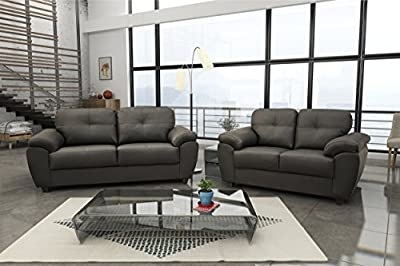 New Carlos 3 & 2 Seater Sofa Set Black or Brown Faux Leather from meble Roberto sp zoo