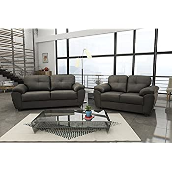 New Carlos 3 2 Seater Sofa Set Black Or Brown Faux Leather