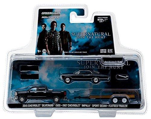 SUPERNATURAL Set - 1967 Chevrolet Impala + 2015 Chevy Silverado + Anhänger - Greenlight 1:64