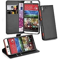 HTC Desire EYE Hülle in SCHWARZ von Cadorabo - Handyhülle mit Kartenfach und Standfunktion für HTC Desire EYE Case Cover Schutzhülle Etui Tasche Book Klapp Style in PHANTOM SCHWARZ
