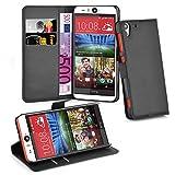 Cadorabo Hülle für HTC Desire Eye Hülle in Phantom schwarz Handyhülle mit Kartenfach und Standfunktion Case Cover Schutzhülle Etui Tasche Book Klapp Style Phantom-Schwarz
