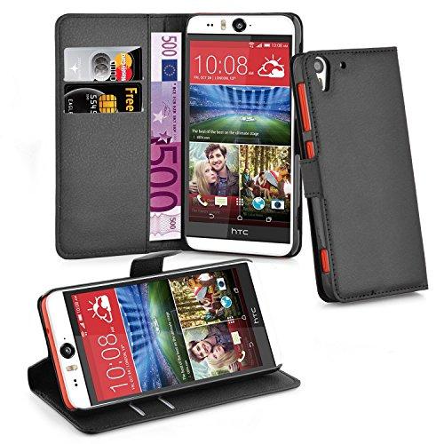 Cadorabo - Book Style Hülle für HTC Desire EYE - Case Cover Schutzhülle Etui Tasche mit Standfunktion und Kartenfach in PHANTOM-SCHWARZ