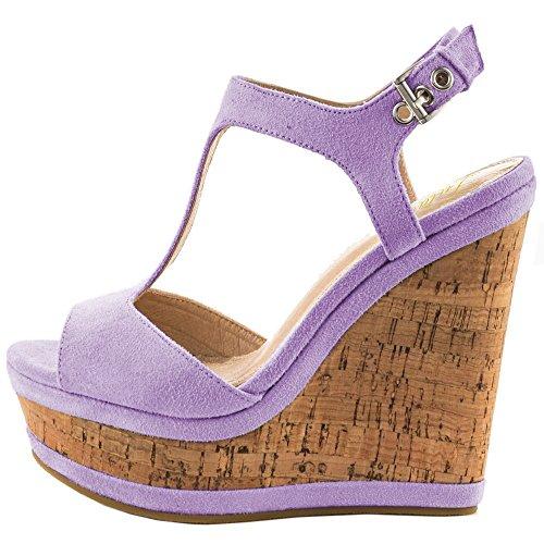 Lutalica Frauen Sexy Wildleder Extreme hohe Plattform Knöchelriemen Keilabsatz Sandalen Schuhe Lila Größe 45 EU -