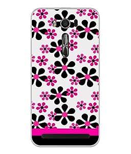 Fuson Designer Back Case Cover for Asus Zenfone 2 Laser ZE550KL (5.5 Inches) (Floral Stencils Graffiti Black Red Girls Lady Woman Student)