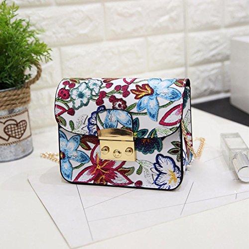 BZLine® Frauen Ethnische Stickerei-Tasche Schulter-Kurier-Beutel kleine Telefon-Geldbeutel Weiß