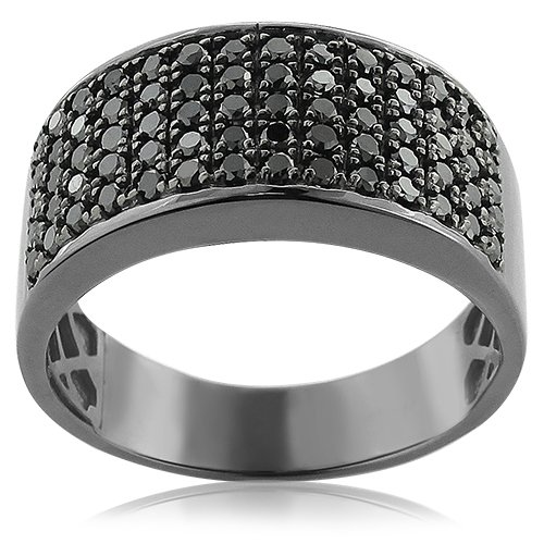 Herren Black Ring Diamond Wedding (Luxurman Designer Ring 10K Rhodium Plated Gold Black 1.6 Ctw Diamond Wedding Band for Men(Size 6))
