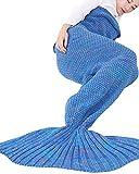 DaiHan Meerjungfrau Kuscheldecke Wolldecke Flossen-Decke Wohndecke Tagesdecke Strickdecke Royal Blue2 Medium