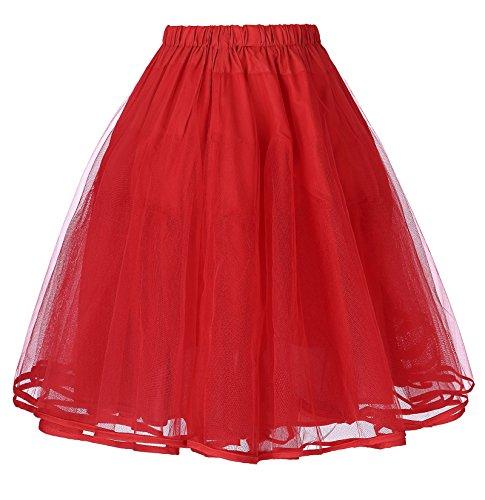 Belle Poque rot Unterrock für 50s Vintage Rockabilly Kleid 1950 Petticoat Reifrock Underskirt S BP229-3 (Der Rote Wedding Dress Kostüm)