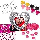 Carpeta 12-Teiliges * Love Valentinstag * Set mit Rosenblättern, Herz-Konfetti, Kerzen, Wunderkerze und großen aufblasbaren Herz-Bilderrahmen // Valentin Hochzeit Motto Party Feier Deko Liebe