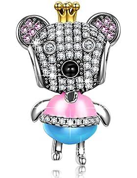 NinaQueen - Prinzessin Bär - Damen-Charm 925 Sterling Silber (Fröhliche Familie Serie)