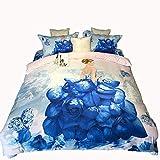 Unbekannt Mali 3D Rose Bettbezug Mode Baumwolle Blätter Bettwäsche 4-Teiliges Set Bettbezug * 1 + Bettwäsche * 1 + Kissenbezug * 2 Geeignet 1,5/1,8 M,3