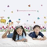 liubohuabuyuan Blume Gartenzaun Abnehmbare Aufkleber Wohnzimmer Kinderzimmer Schlafzimmer Dekor Wandbild Selbstklebende Linie Wandaufkleber Umweltfreundliche Aufkleber