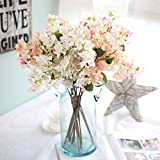 Unechte Blumen,Künstliche Deko Blumen Gefälschte Blumen Seidenrosen Plastik Künstliche Kirschblüte Braut Hochzeitsblumenstrauß für Haus Garten Party Blumenschmuck(Hellrosa und weiß)