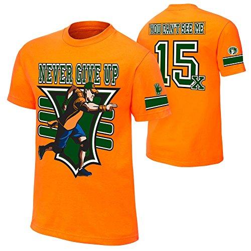 Brandsoon Men's WWE Cotton Round Neck Orange Ruber Print L Size T-shirt( John Cena Print)  available at amazon for Rs.422