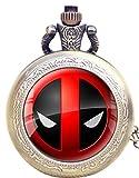 Geschenkbox Deadpool Logo, antik, bronzefarben Gravur Quarz-Taschenuhr/Kettenuhr