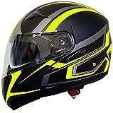 Klapphelm Integralhelm Helm Motorradhelm RALLOX 109 schwarz gelb neon grün matt mit Sonnenblende (S, M, L, XL) Größe M - 3