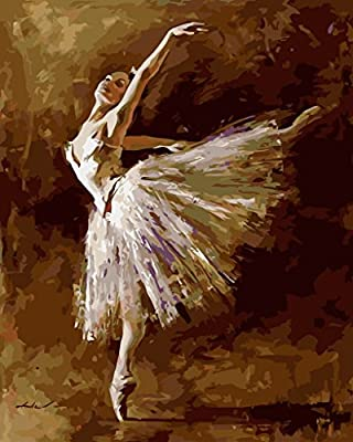 Paint by Numbers with Frame or Not, New Release Diy Oil Painting by Numbers Kits - Ballet Dance Queen 16*20 inches - Digital Oil Painting Canvas Kits Junior for Adults Children Kids with 3X Magnifier - Wall Art Artwork Landscape Paintings for Home Living