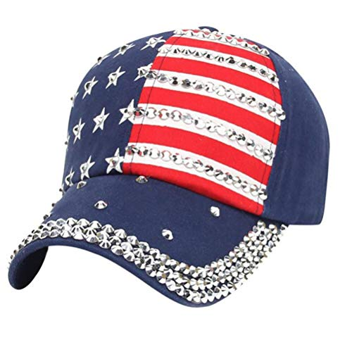 TENDYCOCO Erwachsene Baseball Cap amerikanische Flagge patriotische Kappe USA Strass Hut (blau) (4. Juli Baseball-hüte)