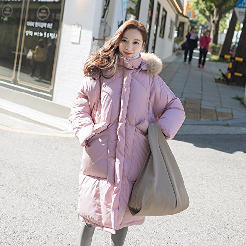 Xuanku Winter's Frauen Großen Kragen Kragen Mit Kapuze Baumwolle Bekleidung Frauen In Der Langen Absatz Dicke Baumwolle Jacke, M, Grüne Bohnen (Womens Coat-groß Pea)