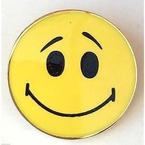 Anstecknadel, Smiley-Motiv, gelb, rund, hochwertige Emaille-Anstecknadel (T1211)
