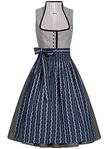 Almsach Damen Trachten-Mode Midi Dirndl Dora traditionell Gr.32-54, Größe:50, Farbe:Grau/Dunkelblau (Traditionelle Kleid Taufe)