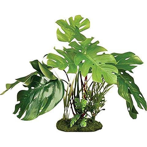 Blue Ribbon Pet Products Colorburst Florals Split Green Leaf Philodendron Aquarium Plant: 7 25, colore: verde