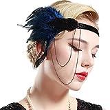 BABEYOND Bandeau Plume Flapper Headband Gatsby Art des Années 1920 Cérémonies Accessoires de Cheveux Bandeaux Plume Classique Partie à Thème (Bleu)
