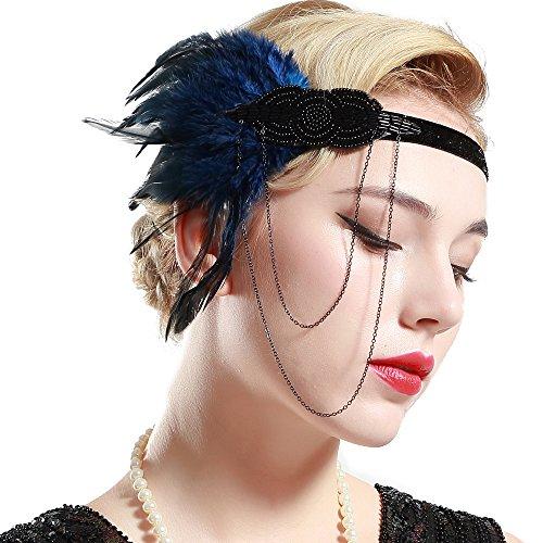 BABEYOND Damen 1920s Stirnband mit Feder 20er Jahre Stil Flapper Haarband Inspiriert von Great Gatsby Damen Kostüm Accessoires (Retro Inspirierte Kostüme)