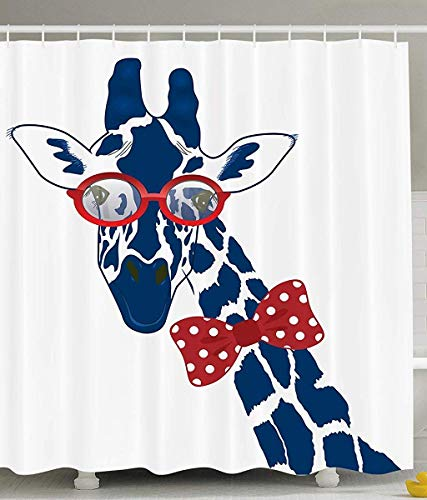 prz0vprz0v Giraffe Shower Curtain Wildlife Animal Decor, Fun Whimsical Funny Giraffe Wearing Hipster Sunglasses and Bowtie, Polyester Fabric Bathroom Shower Curtain Set with Hooks, Navy Red White Polyester Bowties