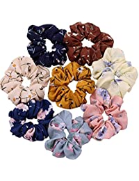 Drishti® Hair Bands Scrunchy Elastic Satin fabric for Women or Girls Hair Accessories, Multi-color Pack of-12 (Random Assorted Color)