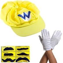 Katara - Juego para disfraz de Wario (3 gorras, 6 bigotes, guantes), color amarillo
