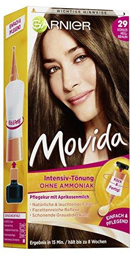 Garnier Tönung Movida Pflege-Creme, Intensiv-Tönung Haarfarbe 29 Kühles Hellbraun, 3er Pack (Haarcoloration-Set)