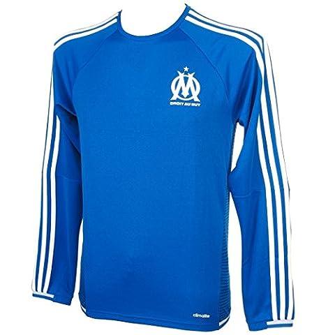 ADIDAS Sweat-shirt d'entrainement col rond OFFICIEL De L'OM Olympique Marseille bleu (M)