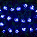 Outdoor Solar Lights Dandelion Ball Solar Power Waterproof Lights for Outside Garden Camping Patio Party Christmas (Blue Rose Flower)