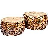 Riess Ambiente 2er Set Couchtisch Stone Mosaic 65cm Kupfer Mangoholz Handarbeit Mosaik Optik Wohnzimmertisch Satztische