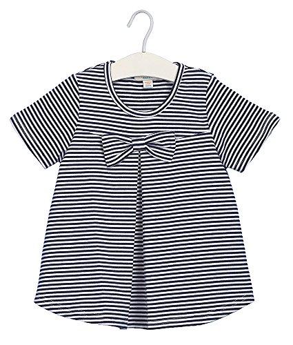 Oceankids Kleiner Mädchen Navy Blau Baumwoll Marine Style Streifen T-Shirt mit Bowknot 6T 5-6 Jahre (End Lands Kinder-fleece)