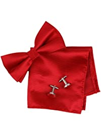 BT2132 Red Stripes Luxury Perfect Gift Idea For Husband Silk Pre-tied Bowtie Cufflinks Hanky Gift Ideas By Epoint