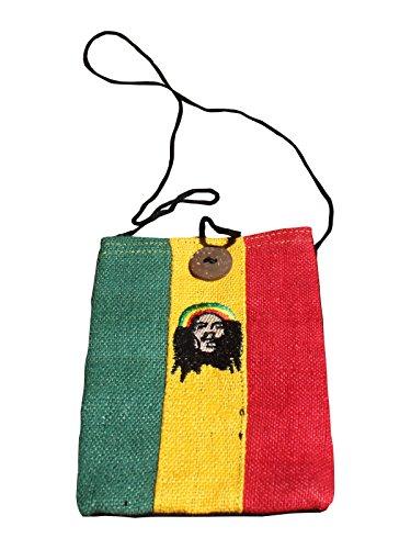 Hanf Messenger Tasche (Handy Tasche mit Knopf Rastafarian Bob Marley Artwork Full Funk)
