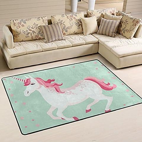COOSUN Unicorn Area Rug Carpet Non-Slip Floor Mat Doormats for Living Room Bedroom 36 x 24 inches