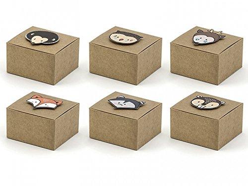 6 Stk Geschenkkartons Waldtiere Geschenkboxen Papier Geschenktaschen Geschenkbeutel Kinder Geburtstag Party Kindergeburtstag Partydeko Give Aways Mitbringsel Süßigkeiten Papierboxen Papierkartons