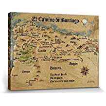 Camino De Santiago De Compostela - El Camino De Santiago Anno 1445, Jon Mellenthin Cuadro, Lienzo Montado Sobre Bastidor (80 x 60cm)