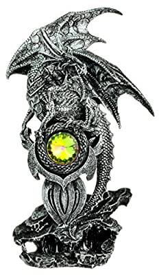 Large Grey Silver Dragon Guarding Gemstone Gothic Figurine