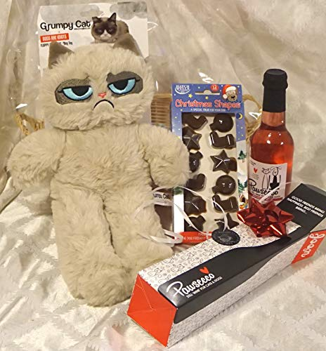 Paradise Pets GRUMPY CAT CHRISTMAS DOG PLUSH TOY GIFT WRAPPED SET WITH CHOCS & PAWSECCO PET WINE