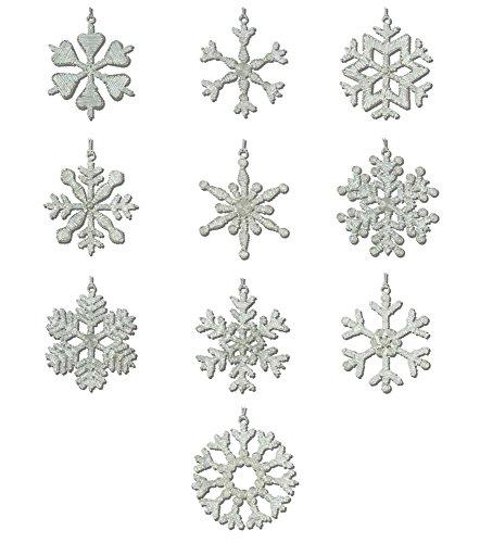 Shalinindia hecho a mano de hierro y cristal copo de nieve adornos, 10