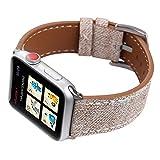 KKSY Bracelet de Montre Montre Apple Watch de Style Denim en Cuir avec 38mm 42mm 44mm 40mm Compatible série iWatch Série 4 Série 3 Série 2 Série 1,B,40/38MM
