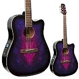 Lindo Guitars Guitare électro-acoustique Swallow avec préamplificateur F-4T, syntoniseur numérique XLR et sortie RCA, étui de transport Violet