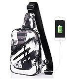 Ammon Lowen Brusttasche Mit USB Anschluss Herren Damen Kleiner Schulterrucksack Umhängetasche Multifunktion für Radfahren Wandern Camping Freizeit